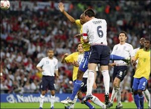 Terry scored a late goal last time England met Brazil and drew 1-1.